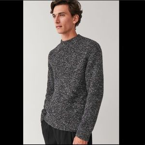 COS Black Speckled Chunky Wool Crewneck Sweater
